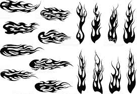 tribal black fire flames tattoo design stock vector art 472791056