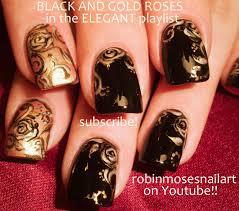 robin moses nail art black and gold rose nail art black and gold