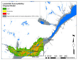 St Lawrence River Map Landslide Susceptibility In Eastern Canada Draft Paper Pete U0027s