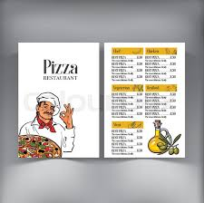 italian chef pizza menu design vector template with sketch style
