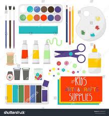 kids artistic materials set art crafts stock vector 418883449