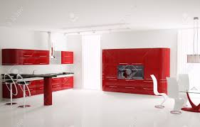 interior of modern red kitchen with bar table and stools 3d stock