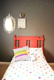 painted headboard in coral color