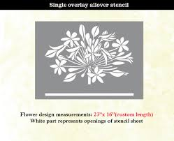 flower modern designer allover pattern wall stencil home decor