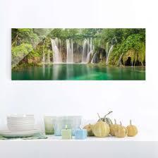 glasbilder für badezimmer glasbild wasserfall plitvicer seen panorama quer