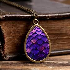 art glass necklace pendant images 2017 new purple dragon egg necklace game of thrones tear drop jpg