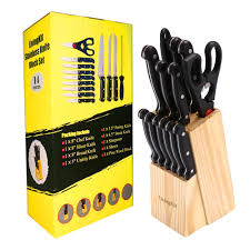 how to store kitchen knives amazon com livingkit stainless steel kitchen knife block set