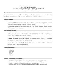 Mba Fresher Resumes New Resume Format For Mba Student By Chetan Vibhandik