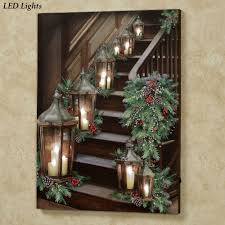 lighted stairway led canvas wall