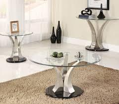 Glass And Metal Sofa Table Homelegance Charlaine Round Glass End Table On Chrome Pillars