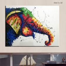 artist hand painted high quality wall decoration impression modern elephant oil painting abstract elephant oil picture for home in painting calligraphy