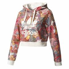 adidas crop top sweater adidas originals fugiprabali crop hoodie sweaters multicolor