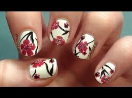 easy nail art cherry blossoms how to paint flowers on short