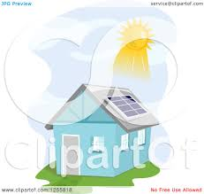 solar panels clipart clipart of a blue house with the sun shining on a solar panel