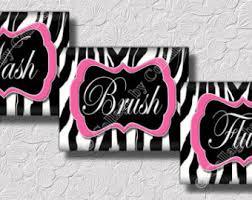 Zebra Themed Bathroom Pink Zebra Print Art Wall Decor Peace Sign Love Music