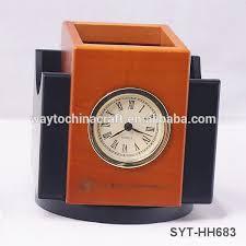 custom logo wooden pen holder high end desk clock with pen holder