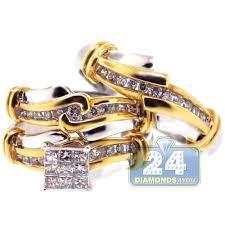 gold wedding sets diamond wedding 3 rings set 14k two tone gold 0 82 ct