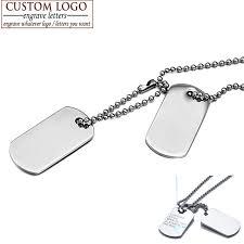 Engravable Dog Tags For Men Aziz Bekkaoui Customized Logo Titanium Stainless Steel Necklace