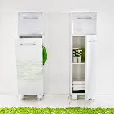 tall bathroom storage cabinet with laundry bin descargas