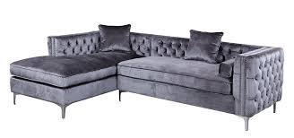 Tufted Sectionals Sofas by Amazon Com Iconic Home Da Vinci Tufted Silver Trim Grey Velvet