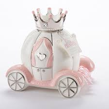 silver piggy bank for baby princess ceramic carriage bank baby aspen baby gifts