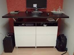 Dark Brown Laminate Flooring Dark Brown Wooden Standing Desk Top With Shelf And White Wooden