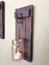 Candle Holder Wall Sconces Wooden Candle Holder Rustic Wall Sconce Jar Candle Holder