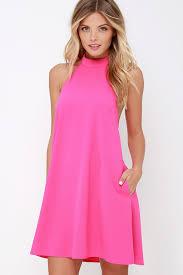 chic hot pink dress halter dress trapeze dress 58 00