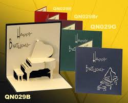 birthday piano pop up handmade greeting cards qn029