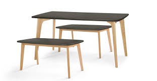 grey oak dining table and bench fjord rectangle dining table and bench set oak and grey made com