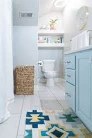 kids bathroom remodel with pops of light turquoise yellow and grey white and turquoise bathroom decor ideas 12