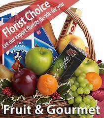 gourmet basket florist choice fruit gourmet basket blooms today