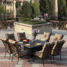 Patio Furniture Sets With Fire Pit by Darlee Santa Anita 9 Piece Dining Set With Fire Pit Table The Mine