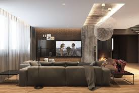 exposed brick complements the unfinished concrete to create a very
