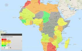 africa map 2014 africa map of map of africa global competitiveness score 2013