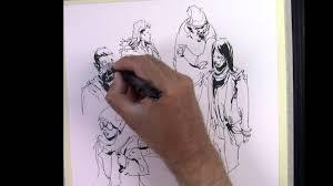 urban sketching demo people in the metro illustration