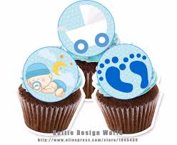 aliexpress com buy 24 boy baby shower edible cake topper wafer
