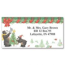 christmas trees address labels colorful images