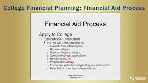 college financial planning financial aid process youtube