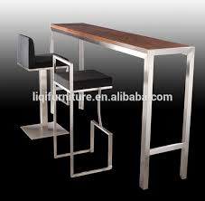 wooden high bar table high quality brushed stainless steel bar table with tempered top or