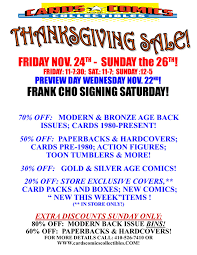 thanksgiving weekend sale cards comics collectibles