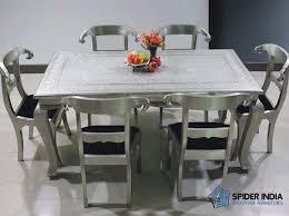 dining table with metal chairs embossed white metal furniture embossed white metal console table