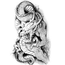 and gray japanese dragon tattoo design