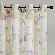 Purple Butterfly Curtains Amazon Com Top Finel Butterfly Window Voile Sheer Curtain Panels