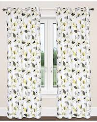 Grey And Green Curtains Amazing Savings On Cotton Leaf Print Grommet
