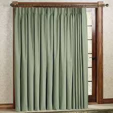 interior ring top pinch pleat drapes in olive for sliding patio