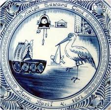 baby birth plates 1950s delft birth announcement plate with baby and stork from