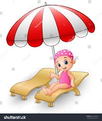 Clip On Umbrellas For Beach Chairs Vector Illustration Cartoon Relaxing On Stock Vector