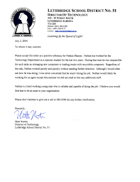 School No Letter Of Recommendation Reference Letter For School