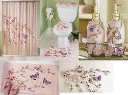 Pink Flower Shower Curtain Cherry Blossom Flower Butterfly Pink Shower Curtain Bath Rug Mat